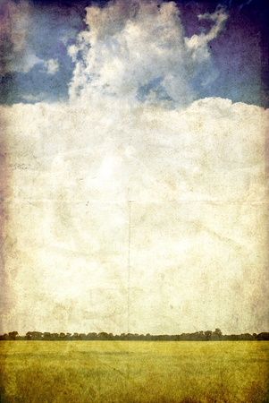farm background: Field and sky, vintage background