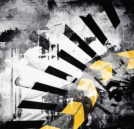 urban decay: Art grunge background, black, gray, yellow color, abstract design