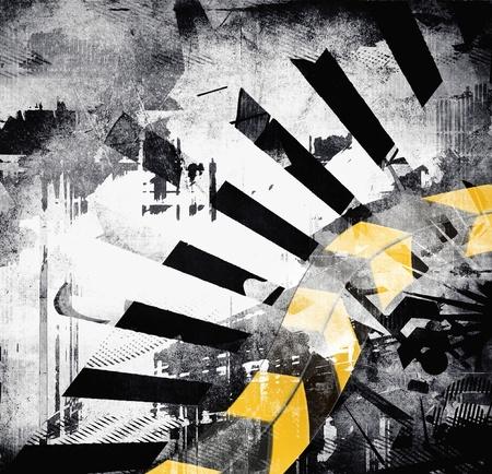 abstrakcje: Art. grunge tło, czarny, szary, żółty kolor, abstrakcyjny wzór