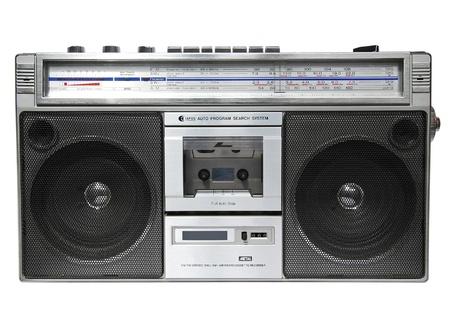 grabadora: Grabadora de cassette de radio vintage, aislado en blanco
