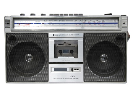 Vintage radio cassette recorder, isolated on white photo
