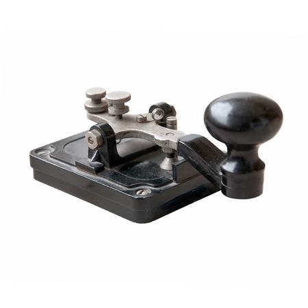 telegrama: Morse clave aislado en blanco Foto de archivo
