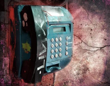 Vandalized public phone, grunge illustration Stock Illustration - 9977643