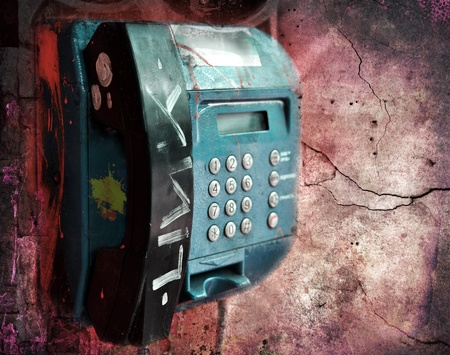 Vandalized public phone, grunge illustration Stock Illustration - 9977643