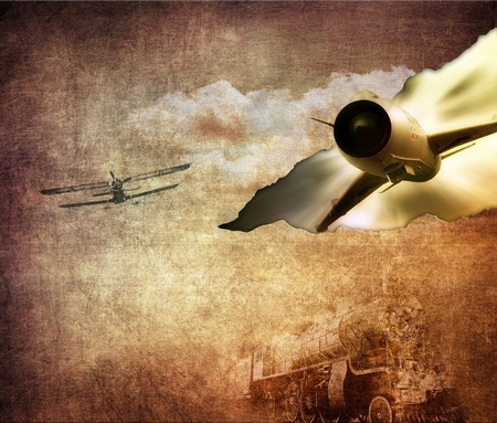 steam jet: Vintage illustration, technology retro, brown background