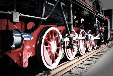 depot: Old steam train wheels Stock Photo