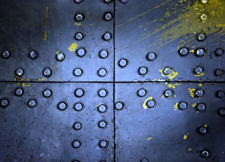 Metal texture with rivets, blue aluminum photo