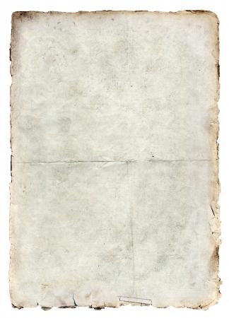 gebrannt: Alte Papierstruktur isoliert auf wei�em Hintergrund