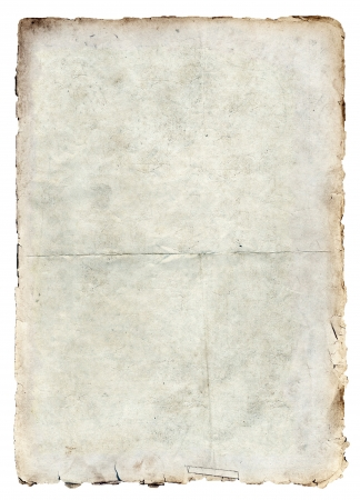 quemado: Textura de papel antiguo aislada sobre fondo blanco
