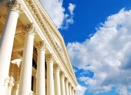 government: Columns and sky Stock Photo