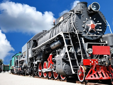 steam locomotives: Old steam locomotive, vintage train Stock Photo