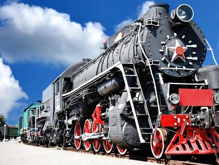 steam engine: Old steam locomotive, vintage train Stock Photo
