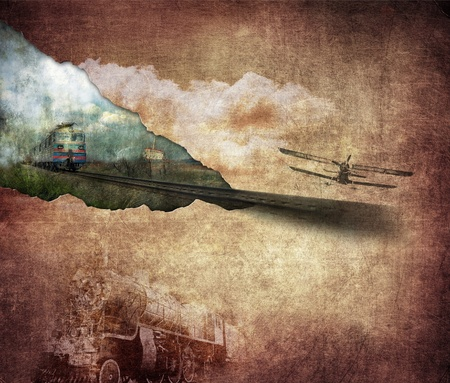 rusted: Vintage illustration, technology retro, brown background, plane and locomotive