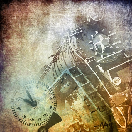 Steam locomotive, art grunge background photo