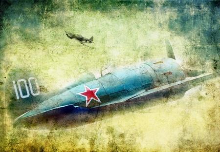 Old military plane, grunge illustration illustration