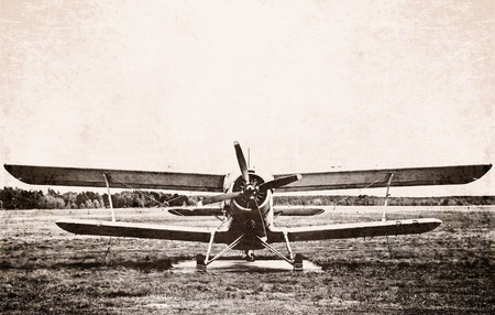 Photo of an old biplane photo