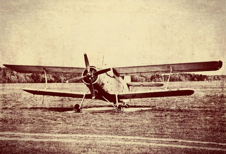 Vintage photo of an old biplane photo