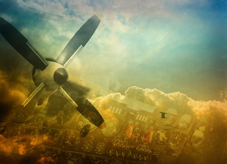 airplane engine: Aviation, grunge background with space for text