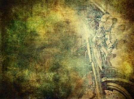 Grunge background, classical motorbike Stock Photo