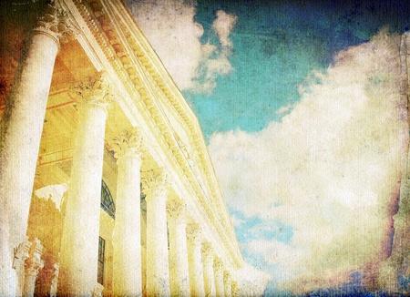 supreme court: Vintage columns and sky
