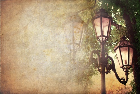 old fashioned sepia: Street lantern, vintage background with space for text