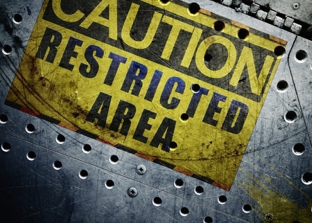 Industrial background with caution sign Stock Photo - 10034231