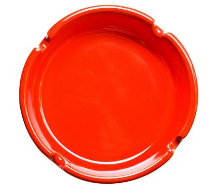 Red Aschenbecher der Ansicht von oben, isoliert auf weiß