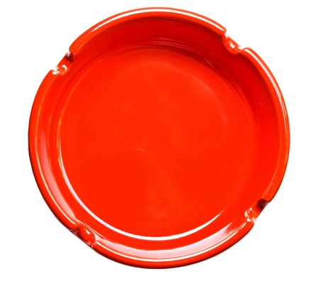 elevated view: Red ashtray the top view, isolated on white Stock Photo