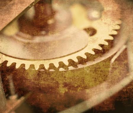 clock gears: Clockwork close up, mechanical clock gear, vintage photo Stock Photo