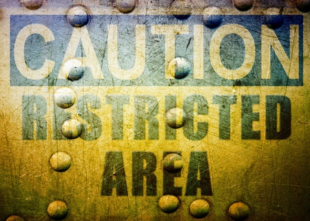 Industrial background with caution sign Stock Photo - 10034236