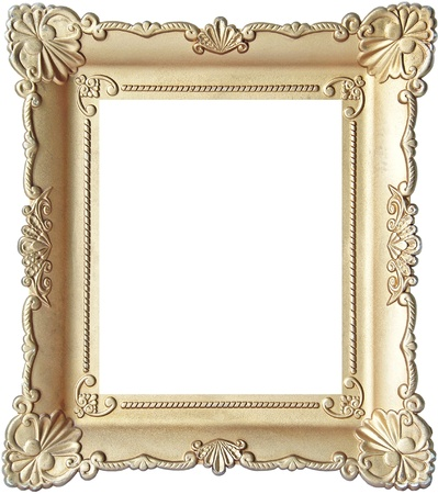 creative pictures: Vintage wooden picture frame isolated on white background