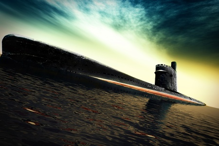 Old submarine at sea Stock Photo