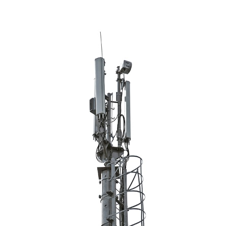 steel tower: Telecommunication tower isolated on white Stock Photo