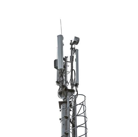 Telecommunication tower isolated on white Stock Photo - 10083037