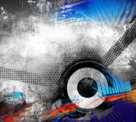 Creative grunge music illustration with speaker, color background