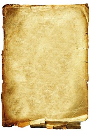 papel quemado: Antiguo devastada por la textura de papel periódicos aislada sobre fondo blanco Foto de archivo