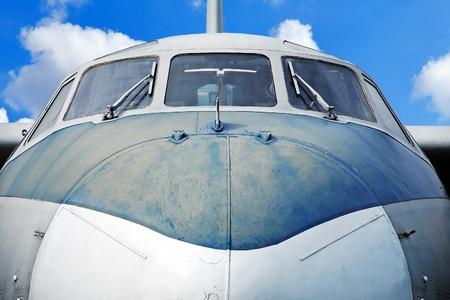 blue plaque: Aircraft against blue sky, close up