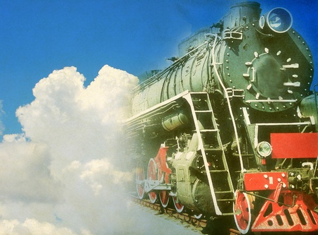 Old steam locomotive, abstract vintage background photo