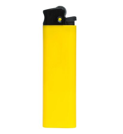 gas lighter: Yellow lighter isolated on white background