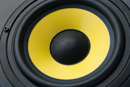 sub woofer: Yellow speaker, close up