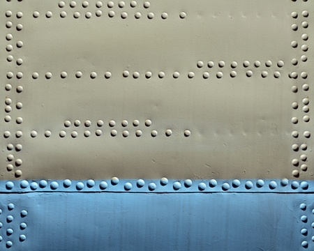 Metal texture with rivets, aircraft fuselage photo