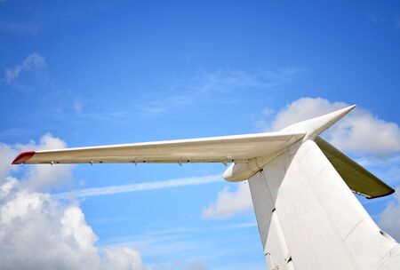 Airplane tail close up photo