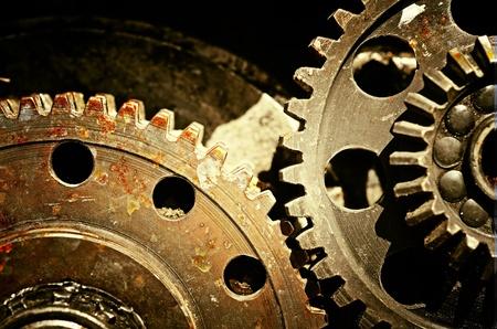 industriale: Ingranaggi meccanici vicino fino, industriale grunge background