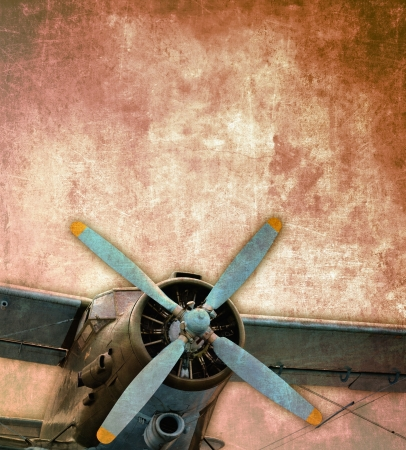 Vintage photo of the old biplane, close up photo