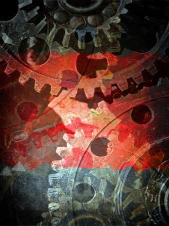 oxidado: Engranajes mecánicos de cerca, fondo del grunge industrial Foto de archivo