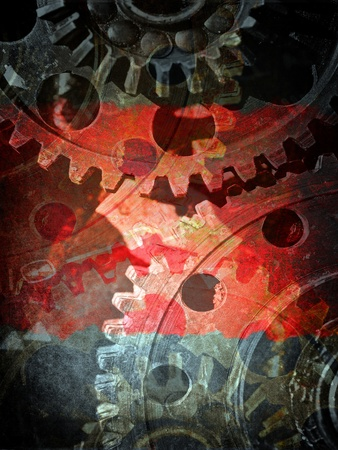 gear motion: Mechanical gears close up, industrial grunge background Stock Photo