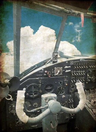 Cockpit of the old biplane photo