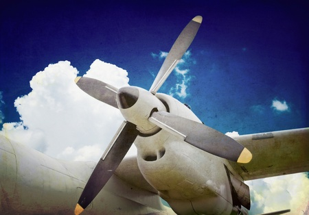 military aircraft: Vintage turboprop engine, military aircraft Stock Photo