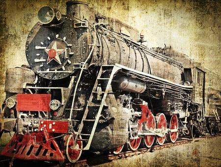 rust red: Locomotora de vapor de grunge