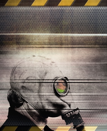 chemical warfare: Man in gas mask, industrial grunge background